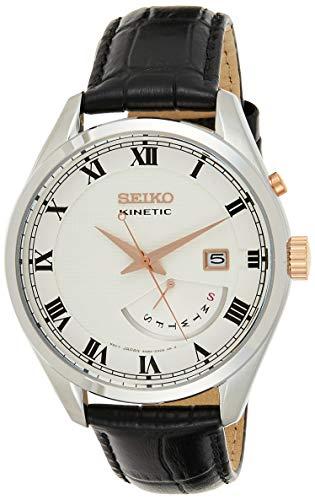 Seiko Herren Analog Kinetik Uhr mit Leder Armband SRN073P1