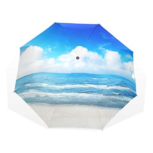 Regenschirm 3 Falten anpassen Nordic Blue Sky Ocean Sea Anti-UV Windproof Lightweight