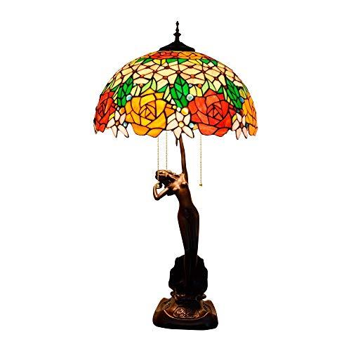 BINGFANG-W Dormitorio Lámpara de Mesa Rose Stained Glass Sala Comedor Dormitorio lámpara de Mesa Hecha a Mano Diámetro 40 cm Altura 76 cm X 3 E27 zócalo Interior Lámparas de Mesa Lámpara de Mesa