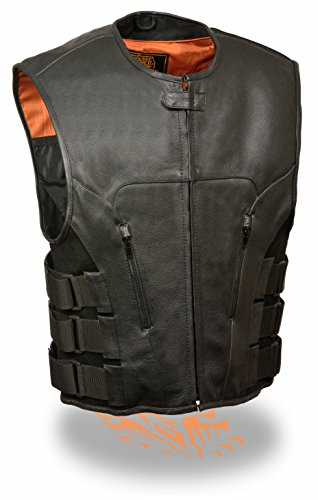 Milwaukee Leather Men's Bullet Proof Look Swat Vest w/Single Panel Back & Dual Inside Gun Pockets (X-Large)