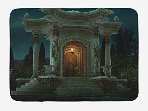 ABAKUHAUS gótico Tapete para Baño, Romano Pabellón Mystic, Decorativo de Felpa Estampada con Dorso Antideslizante, 45 cm x 75 cm, Gasolina Azul Naranja