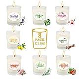 Yue Gang - Velas perfumadas - Set de regalo de 8 piezas, aromáticas velas - Juego 100 % cera de soja natural - Velas portátiles de lata para bodas, eventos, fiestas, yoga, masaje