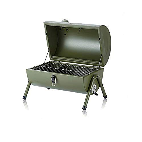 Charcoal Grill Barbecue Portable BBQ - Portable Wood Pellet Grill with Thermometer Tabletop Outdoor Smoker BBQ for Picnic Garden Terrace Camping Travel 16.53''x11.41''x14.56''