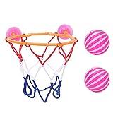 Ulapithi Juguete acuático para bañera, canasta de baloncesto con pelota, juguete de baño para niños y niñas (1 canasta de baloncesto, 2 pelotas)