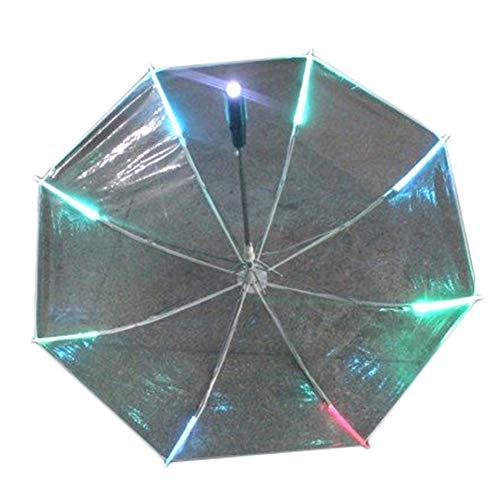woyaOyixixV Kreativer bunter Blitzlicht LED-Licht Winddicht Sonne Regen Nacht Schutz Regenschirm Sonnenschirm täglicher Faltschirm transparent durchsichtig Einheitsgröße