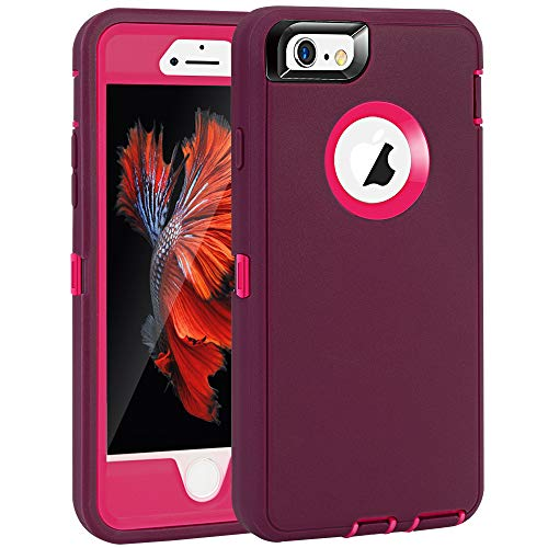 MAXCURY iPhone 6 Case, iPhone 6S Case, Heavy Duty Shockproof Series Case for iPhone 6/6S (4.7')-V2 with Built-in Screen Protector Compatible with all US Carriers (Wine and Fuchsia)