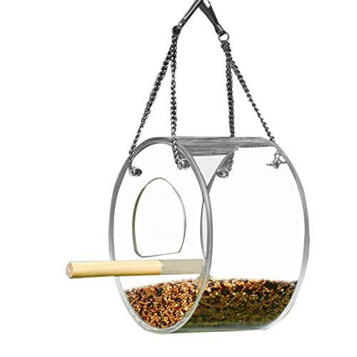 Raspbery Ver a través de la Ventana Alimentador de pájaros con ventosas Fuertes y Bandeja de Semillas, Alimentador de pájaros al Aire Libre Herramienta Redondo y triángulo