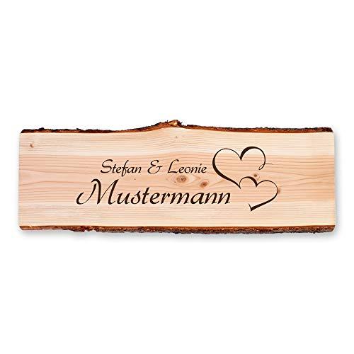 Kreative Feder Herzen | Holzschild personalisiert mit Ihrem Wunsch-Text | ideale Deko für die Haustür und Geschenk für Freunde, Familie, zum Geburtstag, zum Einzug.