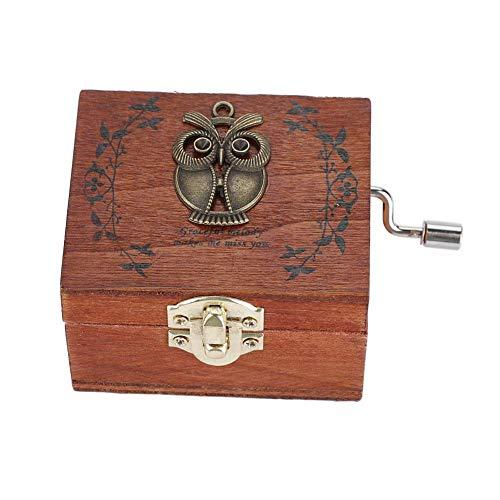 HERCHR Mecanismo de Caja de música de Madera, Cajas de música Vintage, Caja de Caja Musical clásica con manivela, Regalo de cumpleaños(Patrón de búho)