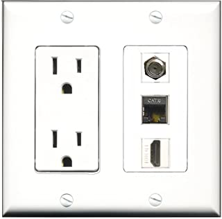 RiteAV 15 Amp Power Outlet 1 Port RCA Yellow 1 Port Phone Beige 1 Port Shielded Cat6 Ethernet Ethernet Decorative Wall Plate