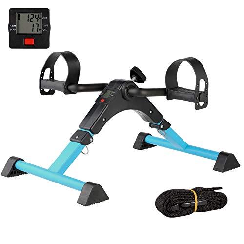 IPKIG Under Desk Bike Pedal Exerciser for Arm/Leg Fitness Folding Mini Exercise Bike Portable Home Desk Cycle (Blue)