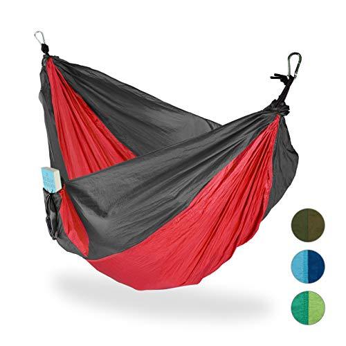 Relaxdays, rot-grau Hängematte Outdoor, Reisehängematte für 2 Personen, Ultraleicht, Camping, bis 200 kg, BT: 152x255 cm
