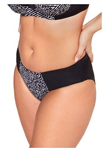 ESOTIQ Damen Bikini-Hose Voyage | 80% Polyamid 20% Elasthan | Gr. S-XL | Retro Schnitt mit hohem Bund und Raffungen | gefüttert,Schwarz,XL