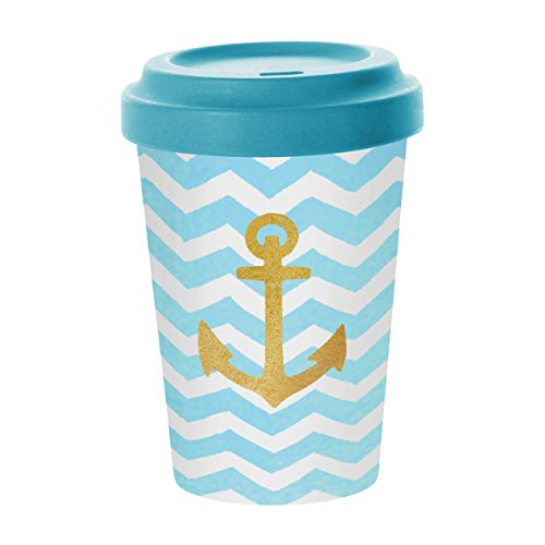 PPD Welcome Anchor Coffee-To-Go Becher, Kaffeebecher, Pappbecher, Trinkbecher, Bambus-Silikon, Blau / Gold, Ø 9 cm, 603343