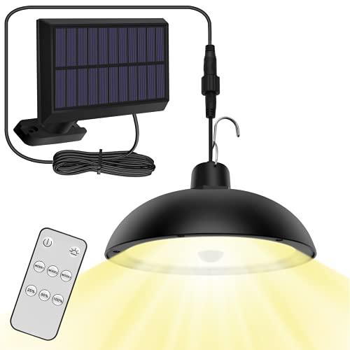 Lampade Solari da Esterno, 4 Modalità Lampada Solare da Esterno a Sospensione 78LED Luce Solare con Sensore di Movimento/Telecomando/IP65 Impermeabile per Scalinata/Balcone/Giardino(Bianco Caldo)