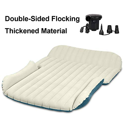 WEY&FLY SUV Air Mattress Thickened and Double-Sided Flocking Travel Mattress Camping Air Bed...