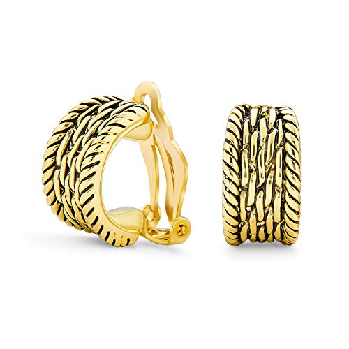 Verdrillte Kabel Kette Weben Breite Hälfte Hoop Creolen Ohrclips Ohrringe Auf Schaltfläche Stil 14K Vergoldet Messing