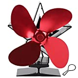 Wosune Ventilador de Calor, Chimenea Ventilador de Calor Mango de Metal Color Módulo termoeléctrico Incorporado Opcional para Chimenea para Dormitorio para hogar para Sala de Estar(Red)