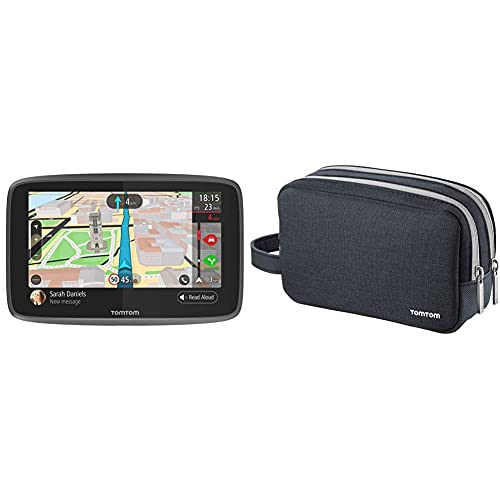 """TomTom GO 6200 Navigatore GPS per Auto, Display da 6"""", Scheda SIM Integrata, Aggiornamenti Tramite W + Custodia da viaggio universale per TomTom"""