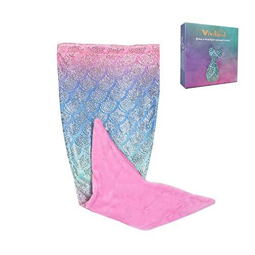 Viviland Meerjungfrau Decke für Jugendliche Mädchen, Fischschuppen Muster, super weiche Plüsch Flanell Schlafsack Decke, Glänzender Regenbogen/Rot, 48x130cm