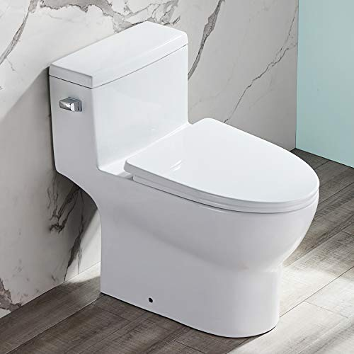 DeerValley DV-1F52626 White One-Piece Toilet ,Comfort Height Single Flush 1.28 GPF Water Efficient Elongated Soft Closing Seat Included