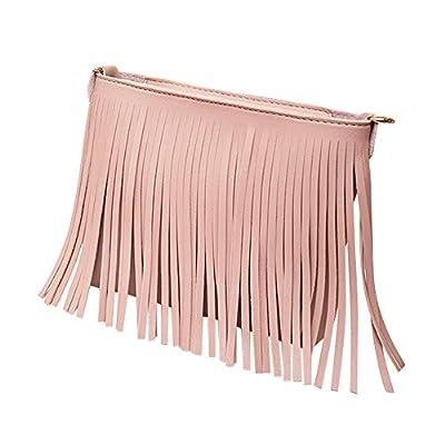 MaxFox Women Retro Shoulder Bag Tassel Leather Square Messenger Satchel Crossbody Tote Handbag for Cell Phone &Coin (Pink)