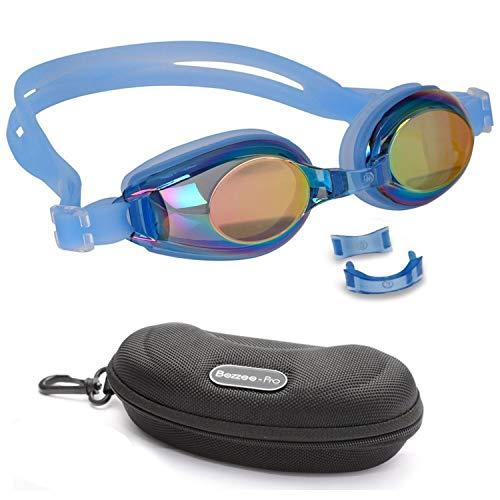 BEZZEE PRO Occhialini da Nuoto per Bambini - UV Protezione Occhiali a Specchio - Lente Colorata con Custodia e 3 Ponte del Naso Intercambiabili per 4-12 Anni Junior Ragazzi e Ragazze