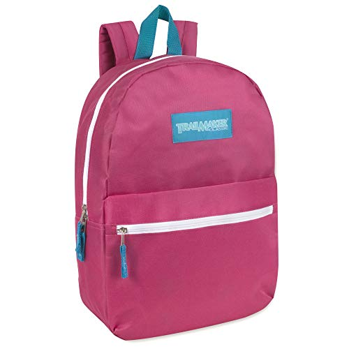 Classic Traditional Solid 17 Inch Backpacks with Adjustable Padded Shoulder Straps (Pink)