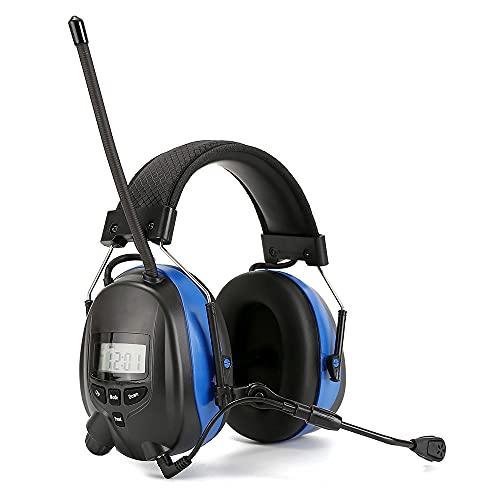 PROTEAR Gehörschutz mit Radio und Bluetooth, FM/AM-Digitalradio, Mikrofongeräuschschutz-Ohrenschützern, Geräuschreduzierungs-Ohrenschützern für Lärmumgebungen in Industrie, Bau und Garten. SNR25db