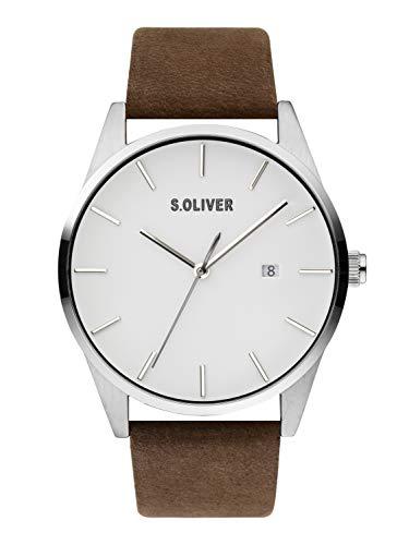 s.Oliver Herren Analog Quarz Uhr mit Leder Armband SO-3852-LQ