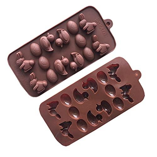 Moldes de silicona para chocolate, 2 moldes de chocolate, antiadherentes para hornear, bandejas de cubitos de hielo para hacer dulces y chocolate