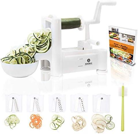 The Original Zoodle Slicer - Complete Vegetable Spiralizer, Spiral Slicer Bundle (With Cleaning Brush, Peeler & Recipe eBook) (HandHeld)
