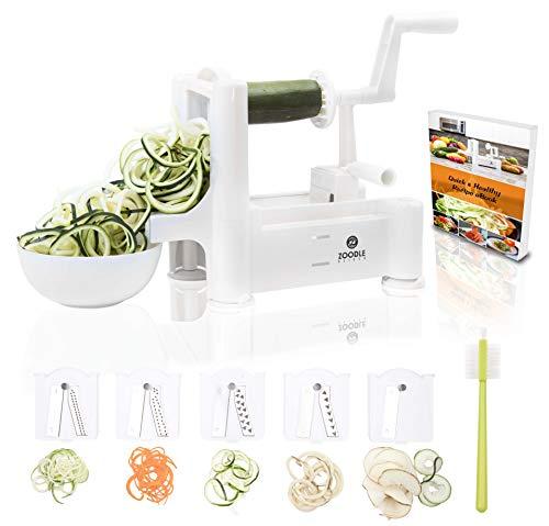 Zoodle Slicer The Original 5-Blade Vegetable, Spiral Slicer Bundle (with Cleaning Brush, Peeler & EBook), Desktop