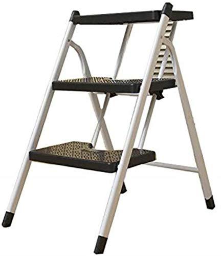 ZfgG 3-traps ladder, Heavy Duty Iton, draagbaar vouwen, met antislipmat Zwart