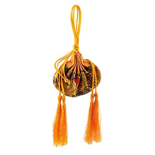 LOVIVER Bolso Vacío del Bolso del Perfume del Bolso Vacío De La Bolsita De Seda del Chino Tradicional para Los Accesorios De La Ejecución del Coche - Amarillo