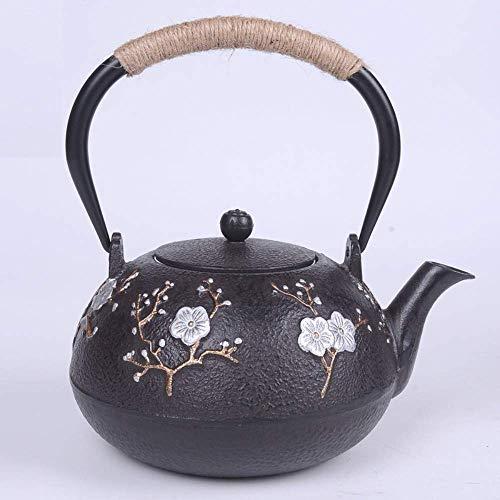 COOLSHOPY Hierro fundido sur de Japón hierro fundido, olla de hierro fundido doble viga, juego de té de 1,2 l para reuniones y picnics en casa