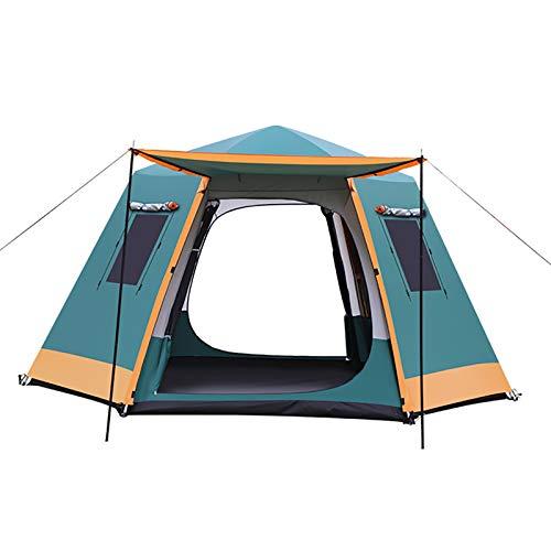 ZXD Tienda de Campaña Familiar para 3-7 Personas, Tienda de Camping Impermeable Anti Viento, para Camping o Festivales, Acampada, Familiar,Dark Green,Small