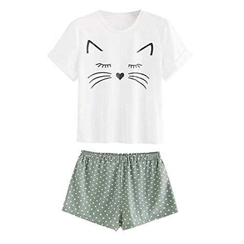 ShopINess Pijama de Verano Gato (Blanco-Verde, XL)