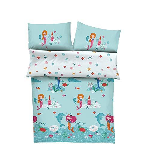 s.Oliver Bettwäsche Meerjungfrau Mädchen 100x135 cm - Kinderbettwäsche türkis 100% Baumwolle hochwertiger Makosatin 2 teiliges Set aus Babybettwäsche 135x100 cm und Kissen 40x60 cm Reißverschluss
