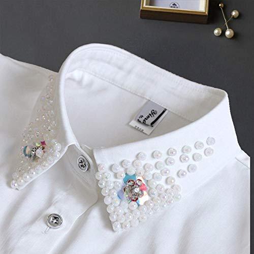 A323 Damen-Hemd mit Perlenkragen, Kraagie-Imitat, abnehmbar, Schwarz
