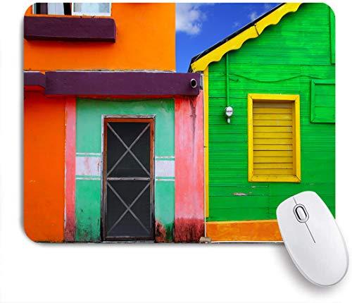 Aliciga Gaming Mouse Pad Rutschfeste Gummibasis,Karibische Häuser in lebendigem Farbschema in Isla Mujeres Mexiko Lateinamerika Foto,für Computer Laptop Office Desk,240 x 200mm