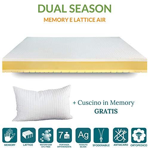 EvergreenWeb aanbieding. Matras Memory Single 85 x 190 Dual Season, matras 4 cm latex en 4 cm Memory dubbellaags, H 21 cm, overtrek afneembaar en wasbaar. Orthopedisch en hypoallergeen.