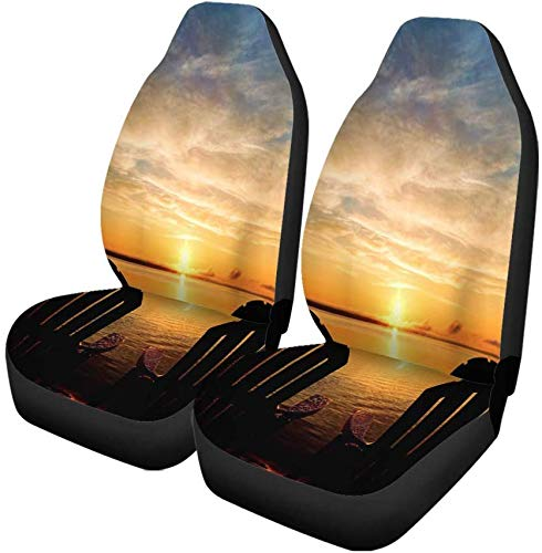 Set van 2 autostoelhoezen De achterkanten van twee Adirondack-stoelen wachten aan het einde Universele autostoelbeschermer past voor auto, Suv Sedan, vrachtwagen