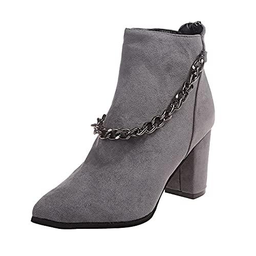 RTPR Botines de mujer con tacón alto, estilo retro, elegantes, clásicos, de invierno, para exteriores, gris, 38 EU