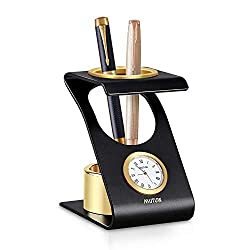 MUTUW Business Gifts Stylish All-Metal Desktop Round Clock Pen Pencil Holder Decorations in Luxury Gift Box Perfect for Home Office Decoration - Black