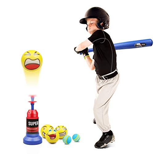 Lydaz Tee Ball Set, Automatic Baseball Launcher with 5 Soft Balls and Stretchable Bat - Toddler Outdoor Toys Easter Basket Stuffers for 2 3 4 Year Olds Boys & Girls