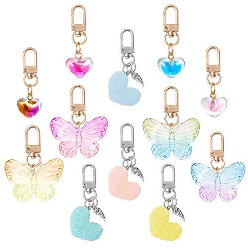 Generies Projaver 12 piezas llavero colgante corazón mariposa llavero para bolsos teléfono carteras monedero, llavero para mujer señora niña