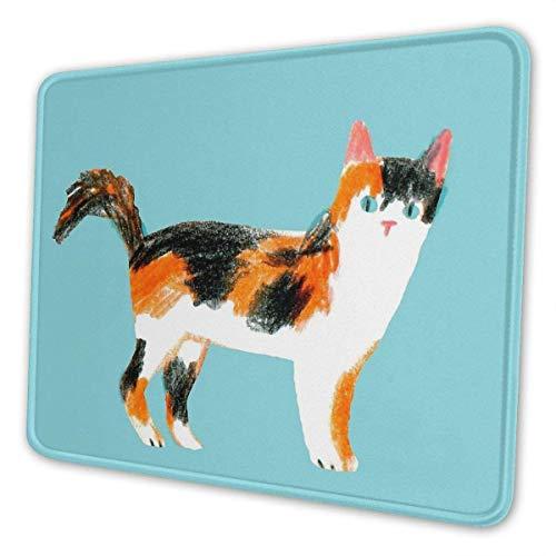 FETEAM Alfombrilla de ratón Calico Cat, Alfombrilla de ratón para Juegos, Base de Neopreno Antideslizante con Borde Cosido, Alfombrilla de ratón para Ordenador para Oficina en casa