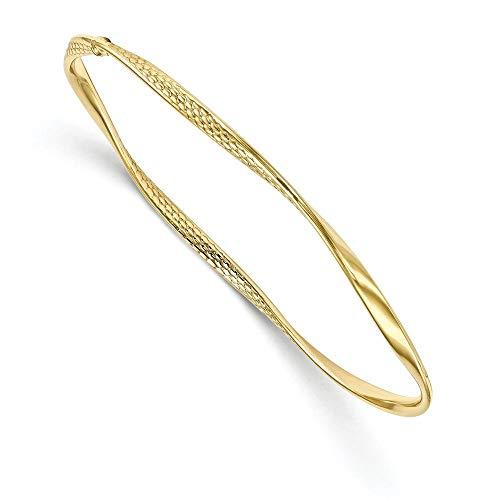 3 mm 10 K con pulido - oro pulsera brazalete trenzado de mayor grado que 9ct oro - JewelryWeb