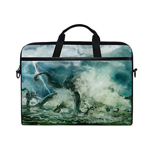 Chic Houses Kraken Octopus Antenne Thunder Laptoptasche Hülle für Männer Frauen Geheimnisvolle Persönlichkeit Wasserdichte Schultertasche Messenger Bag 2030073
